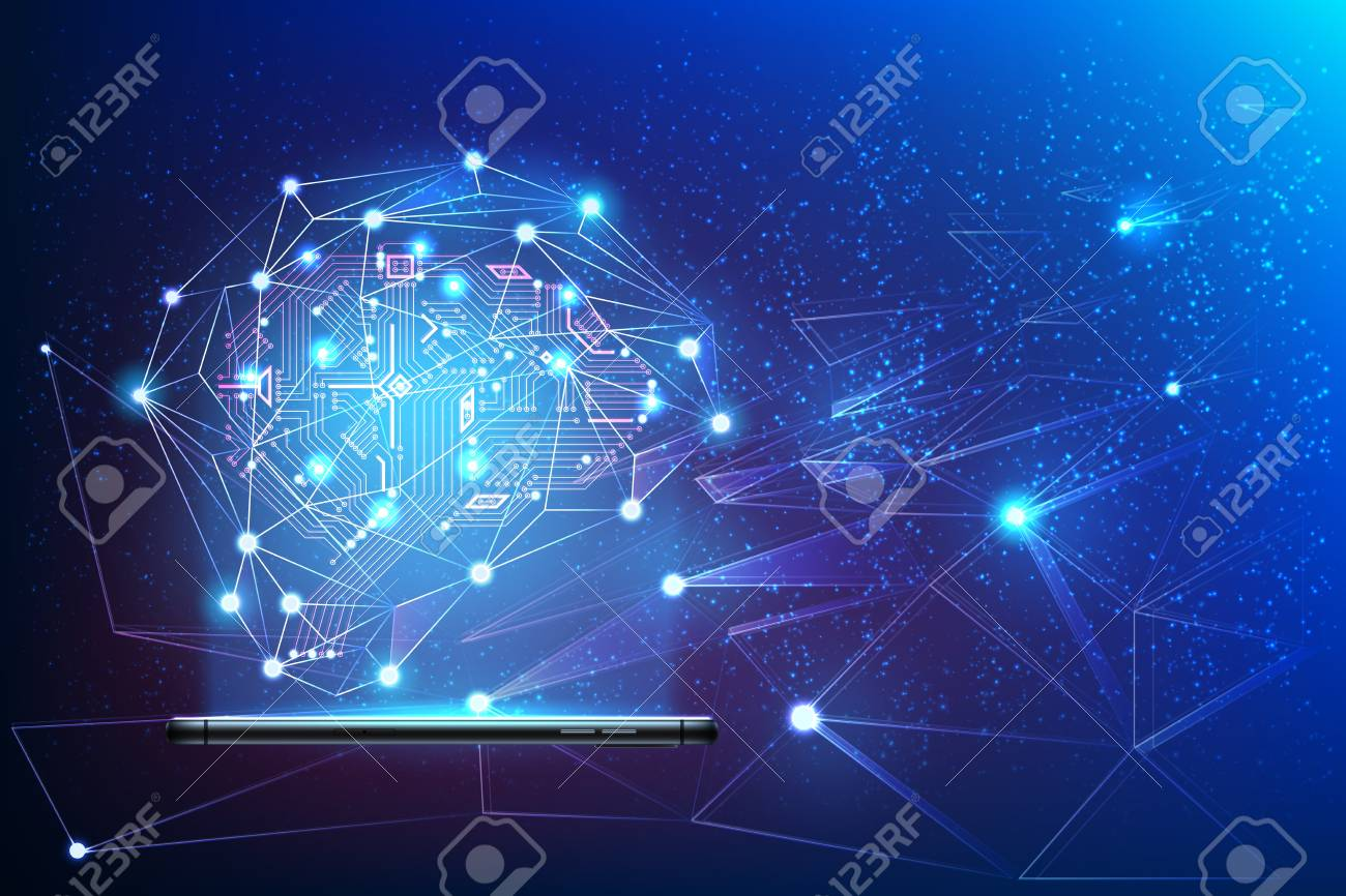 Digital circuit brain with neural network around coming from smartphone. Big data artificial intelligence concept. Machine learning advanced analytics poster Modern technology, vector ai background - 114511397