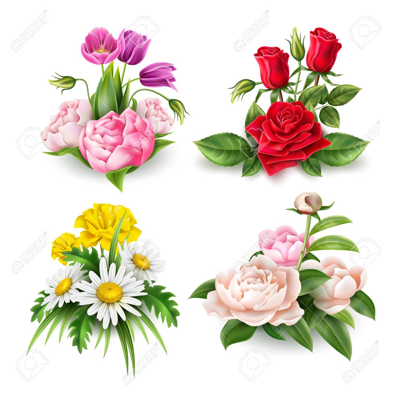 Realistic Rose Tulip Peony And Daisy Flowers Bouquet Set Elegant Royalty Free Cliparts Vectors And Stock Illustration Image 125914613