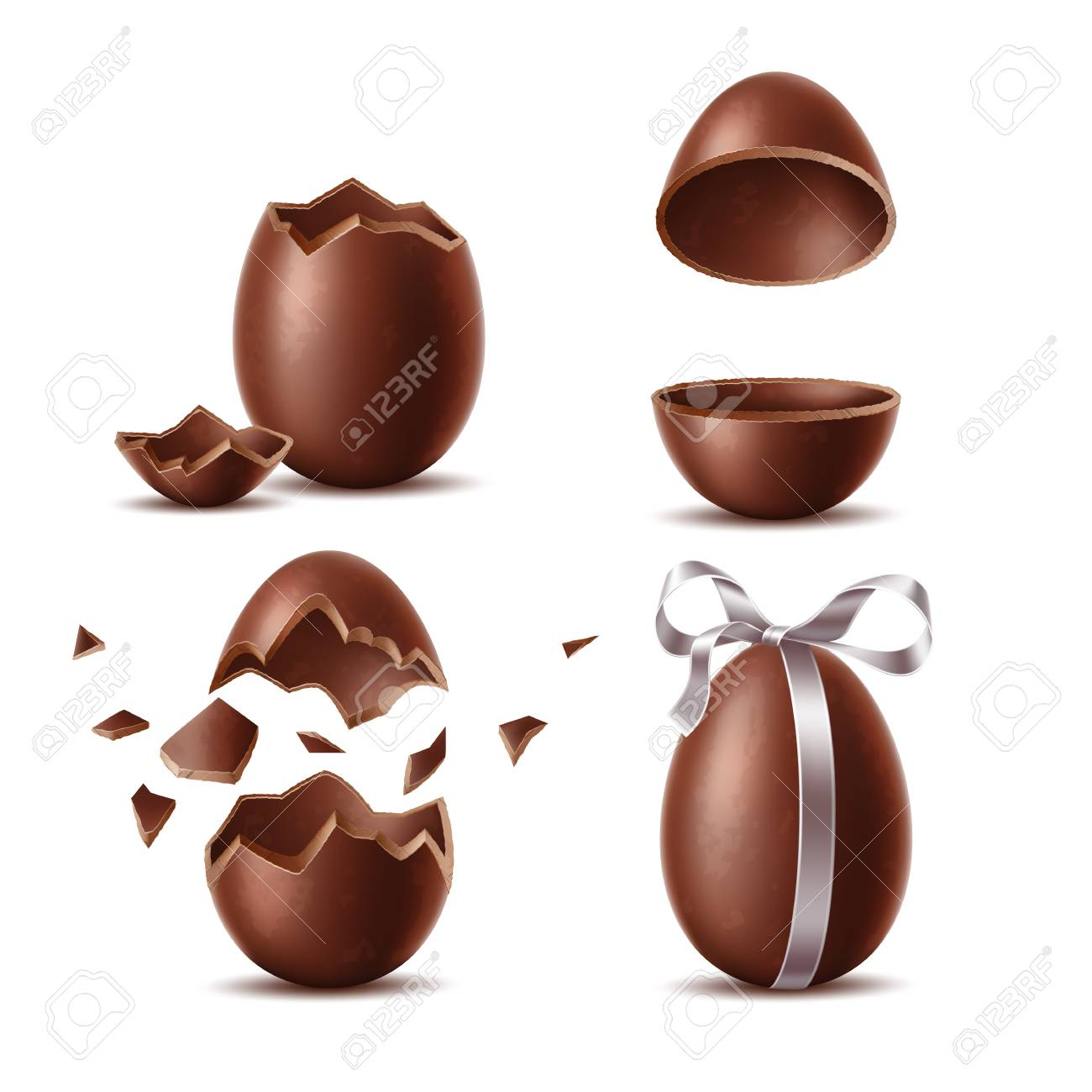 Realistic chocolate eggs set. Broken, exploded eggshell, two halves and whole egg with bow. Sweet easter holiday symbol. Vector dessert made of dark cocoa. Restaurant, cafe menu, celebration design. - 125914619