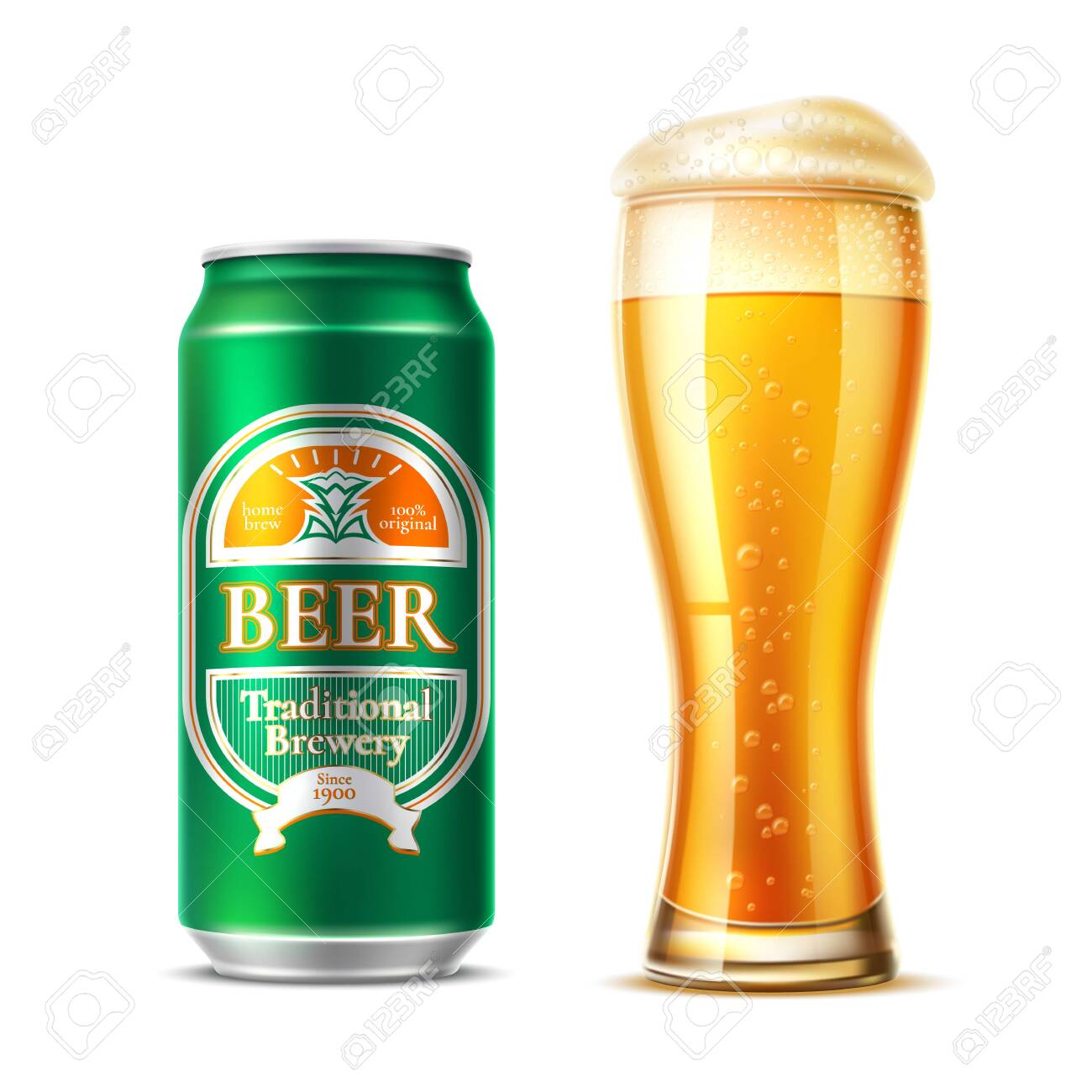 Vector realistic beer glass lager beer bottle - 131822417