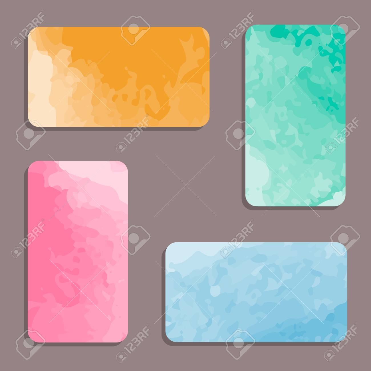 set of watercolor visiting card set for business cards royalty free