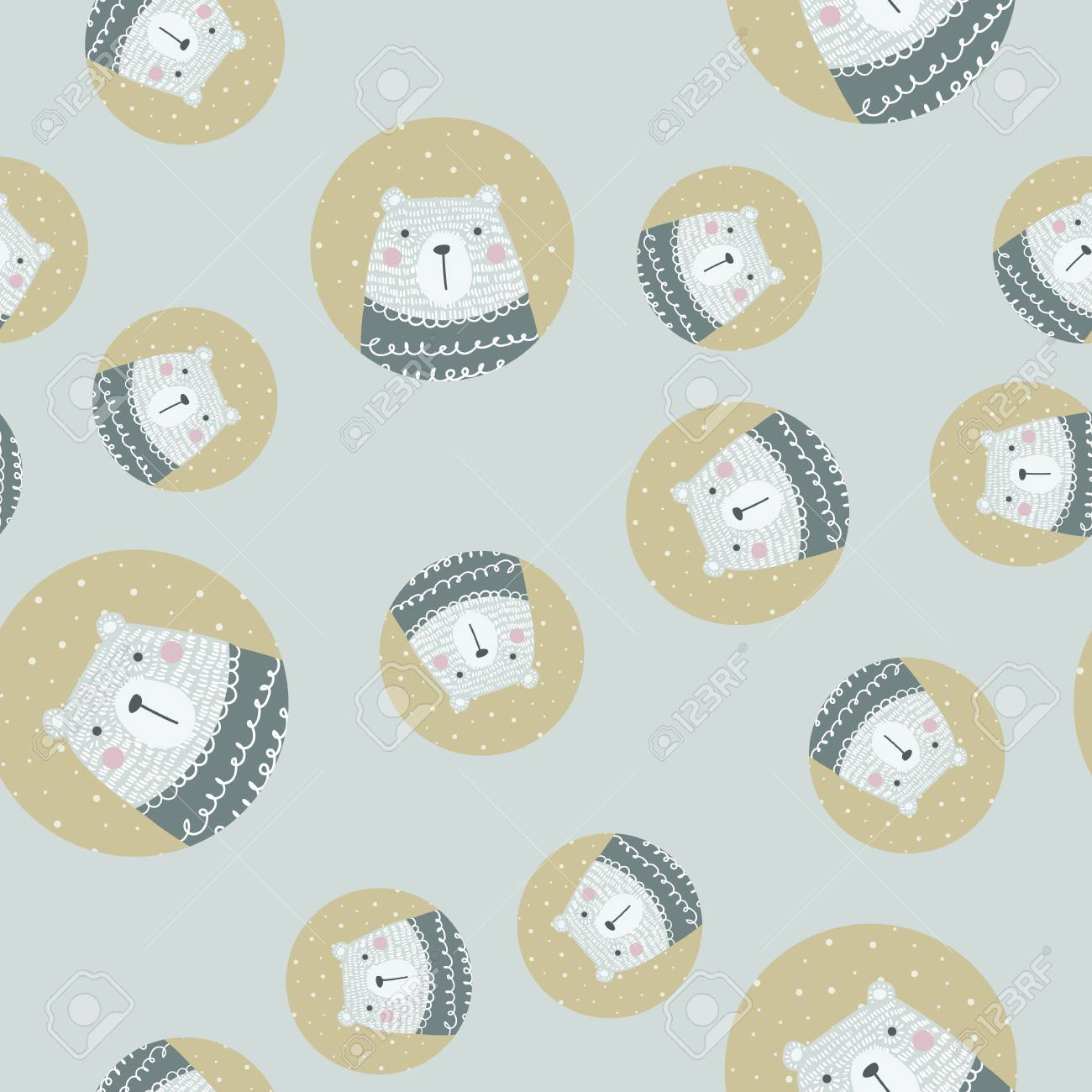 Scandinavian Seamless Pattern With Polar Bear Finnish Design