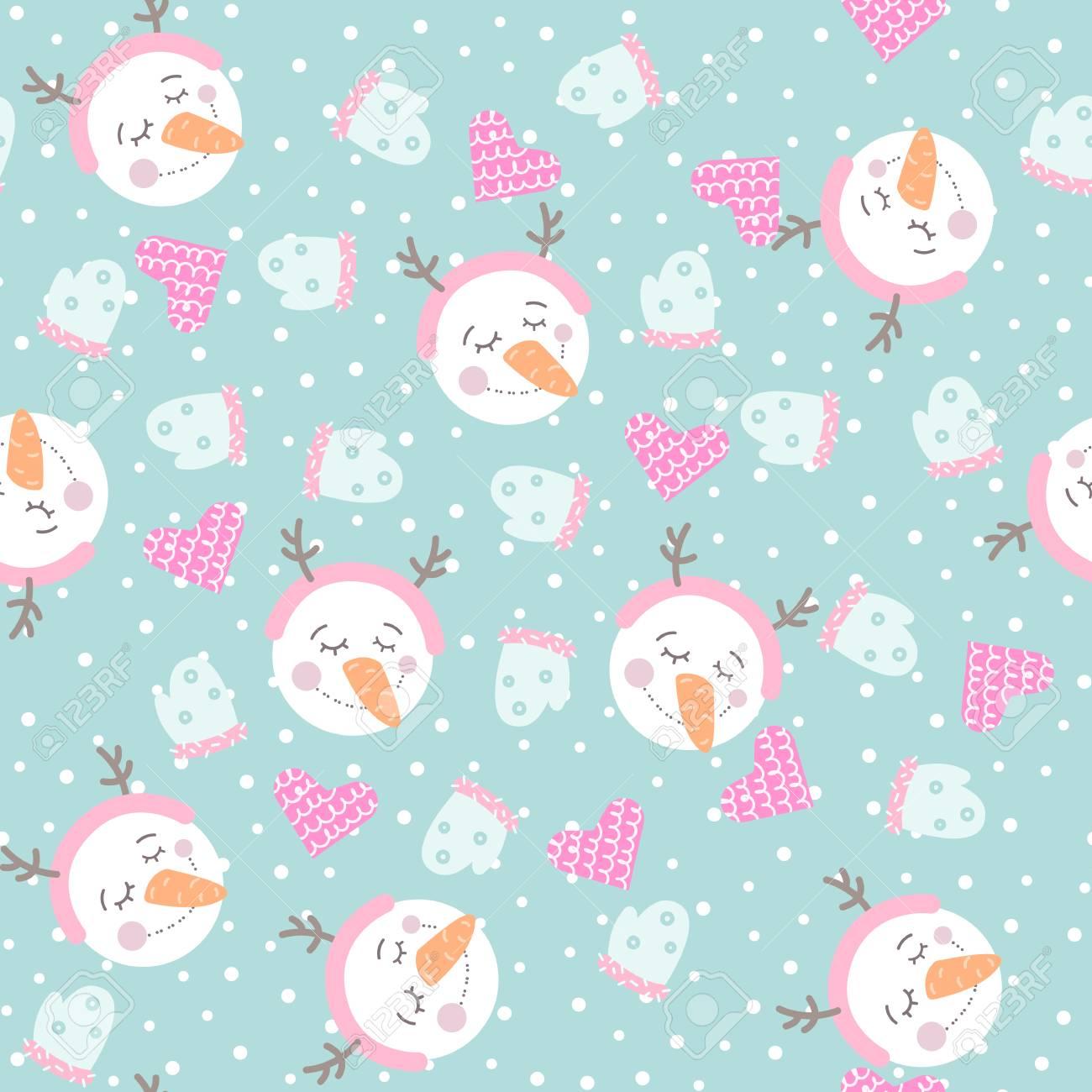 かわいい手雪だるま 心とミトンで描かれたシームレス パターン