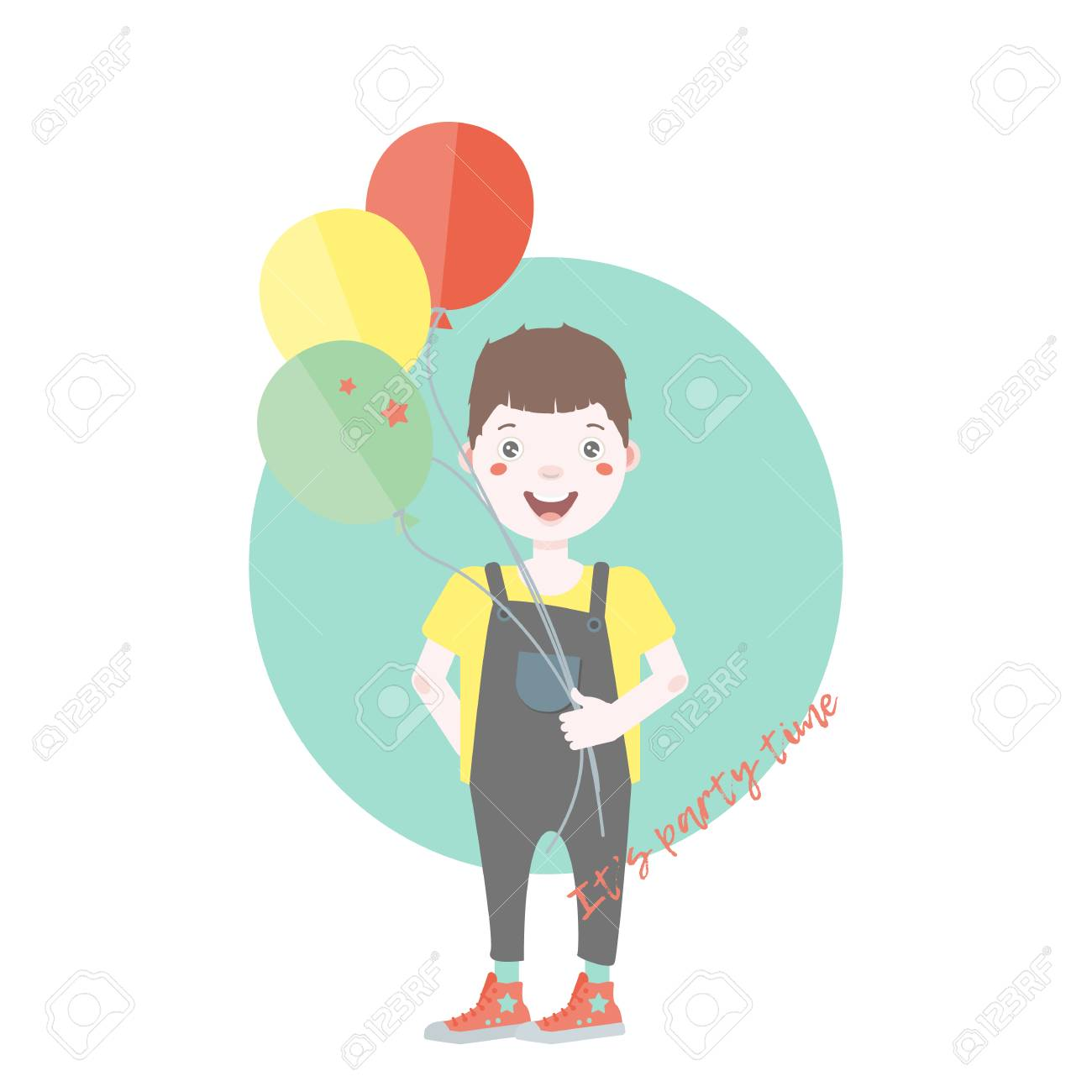 Funny Birthday Card Dark Haired Young Character With Balloons Having Fun At A Party Cartoon Vector