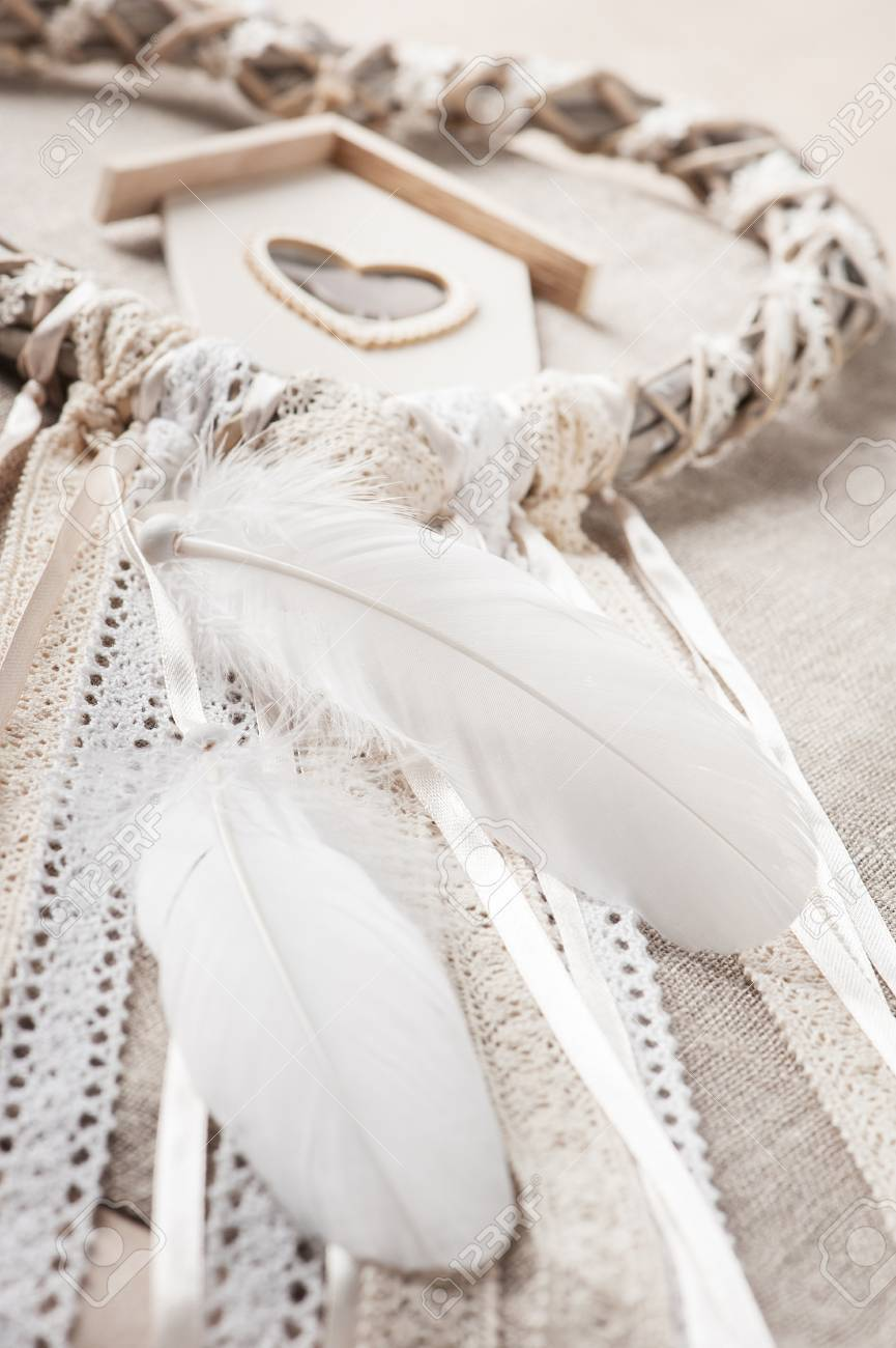 Beige Lace Heart Shaped Dream Catcher With Bird House Wedding