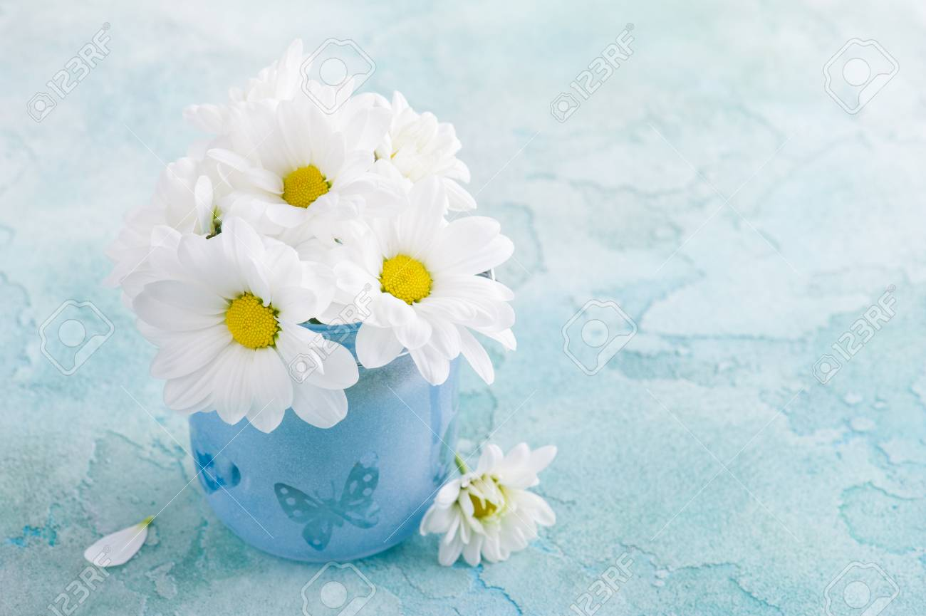 Fresh Daisy Flowers In Blue Glass On Pastel Blue Concrete Table