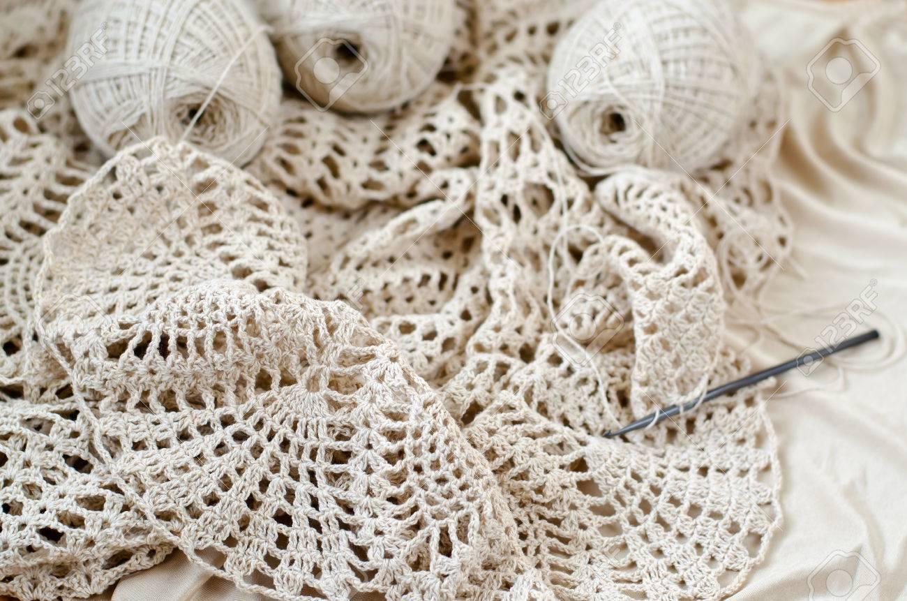 Crochet Patterns On The Wooden Table Crochet Dress From Beige
