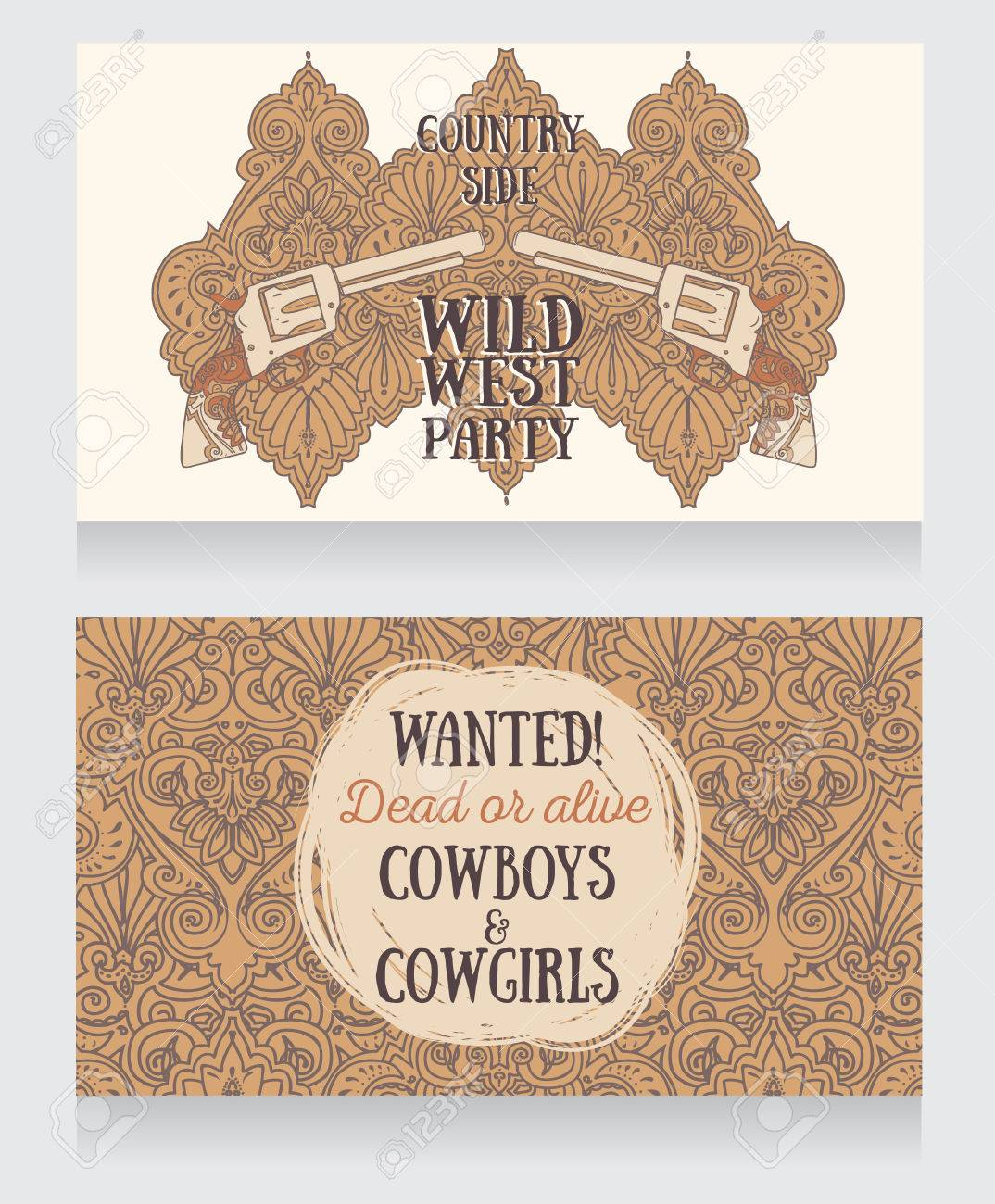 Invitation For Wild West Party, Wanted Poster In Country Style ...