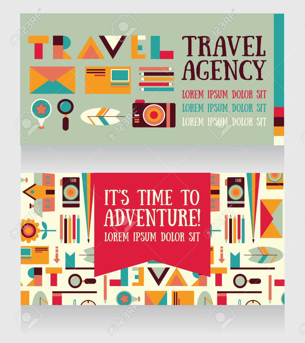 Two Banners For Tourism And Travel, Can Be Used As Business Cards ...