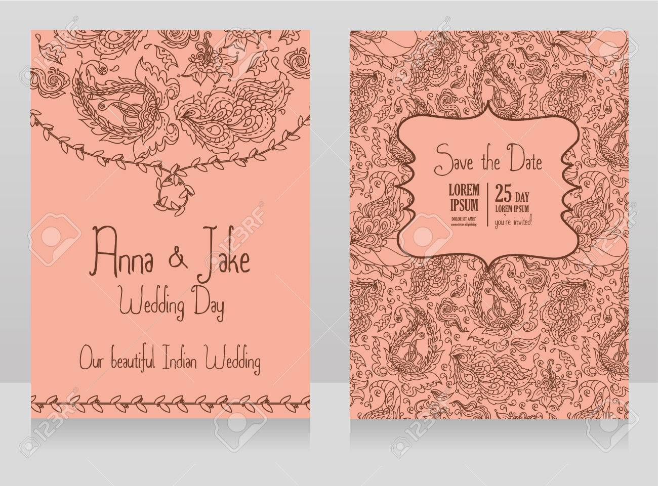Template For Wedding Invitation In Indian Style Traditional