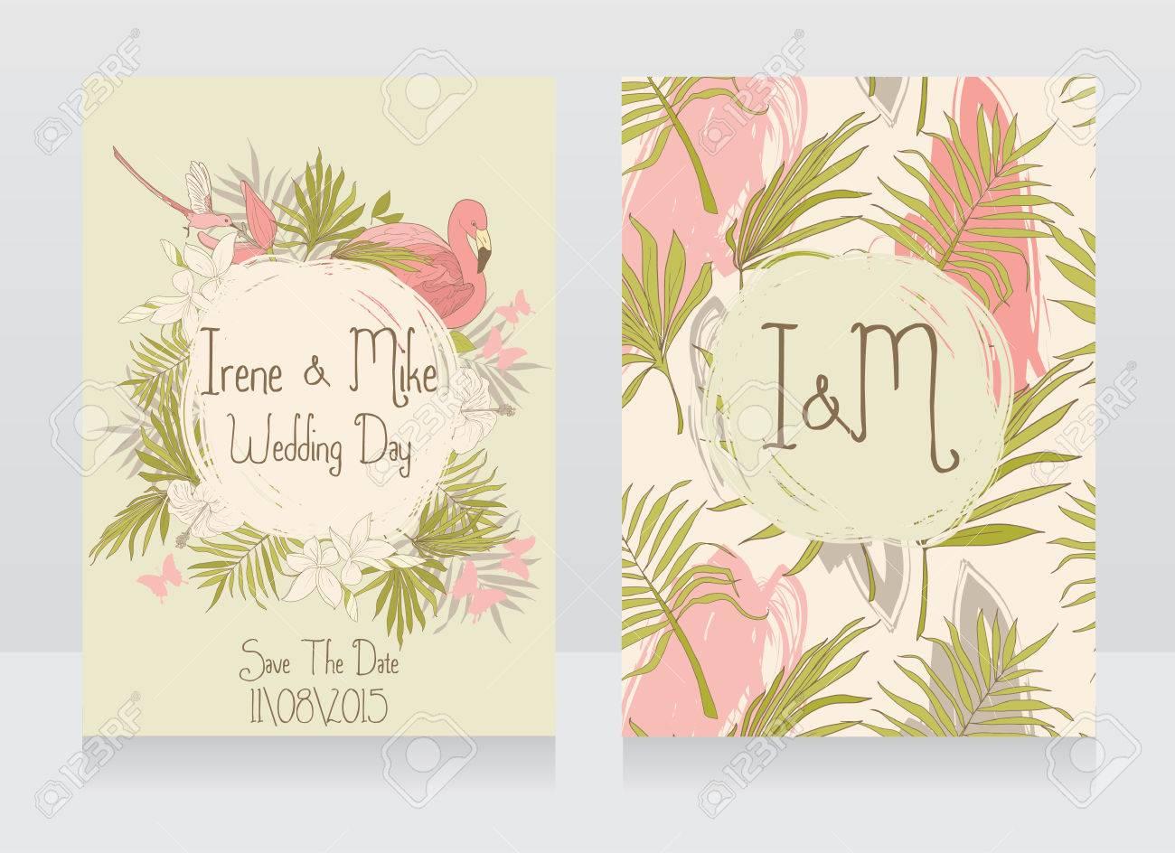Hochzeitskarten Mit Tropischen Vogeln Und Blumen Hawaii Stil Partei