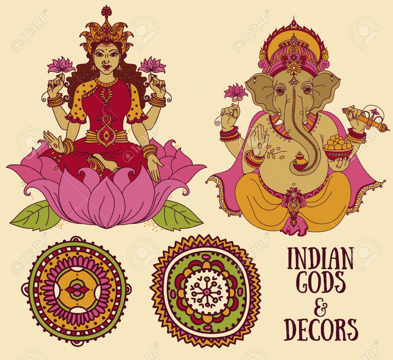 Set Of Vector Illustrations With Sitting Lord Ganesha And Indian Goddes Lakshmi Royalty Free Cliparts Vectors And Stock Illustration Image 72172984