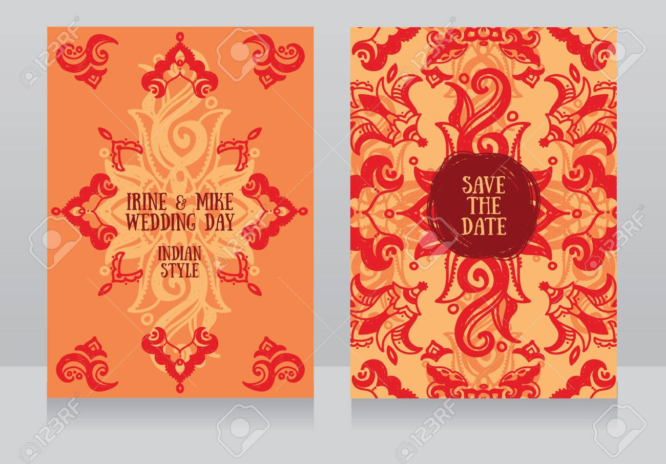 Two Beautiful Wedding Invitations With Hand Drawn Ornament, Vector ...