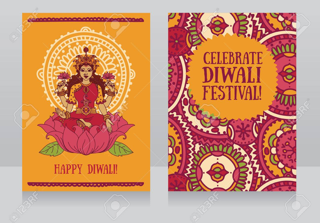 Beautiful Greeting Cards For Diwali Festival With Indian Goddess