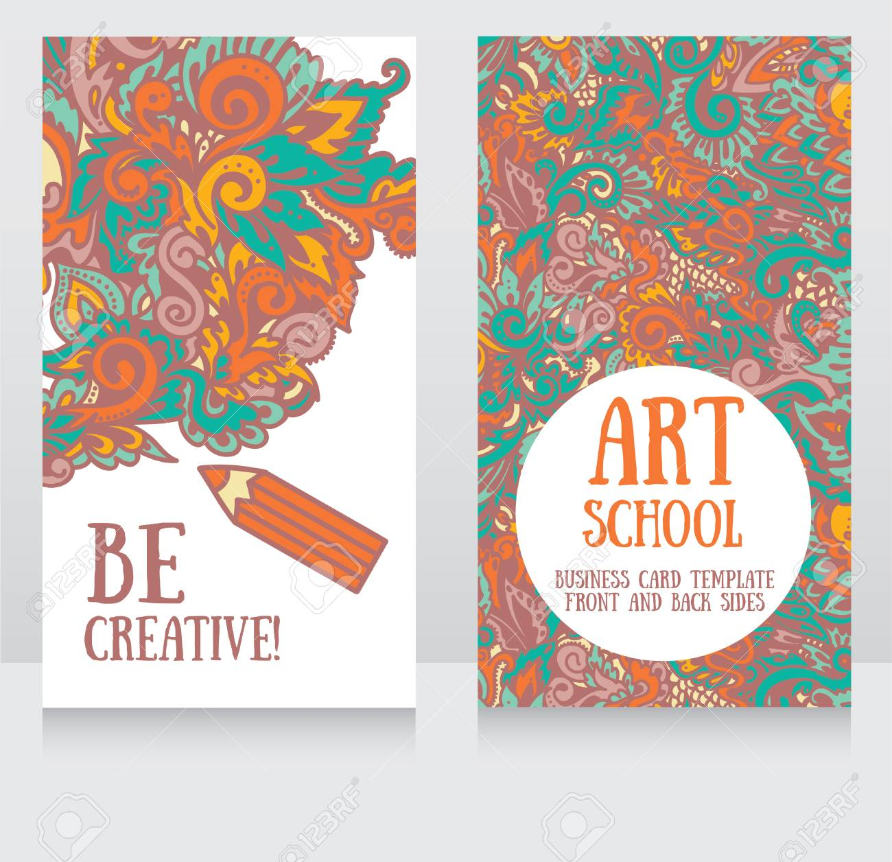 Business Cards Template For Art School, Can Be Used For Art Therapy ...
