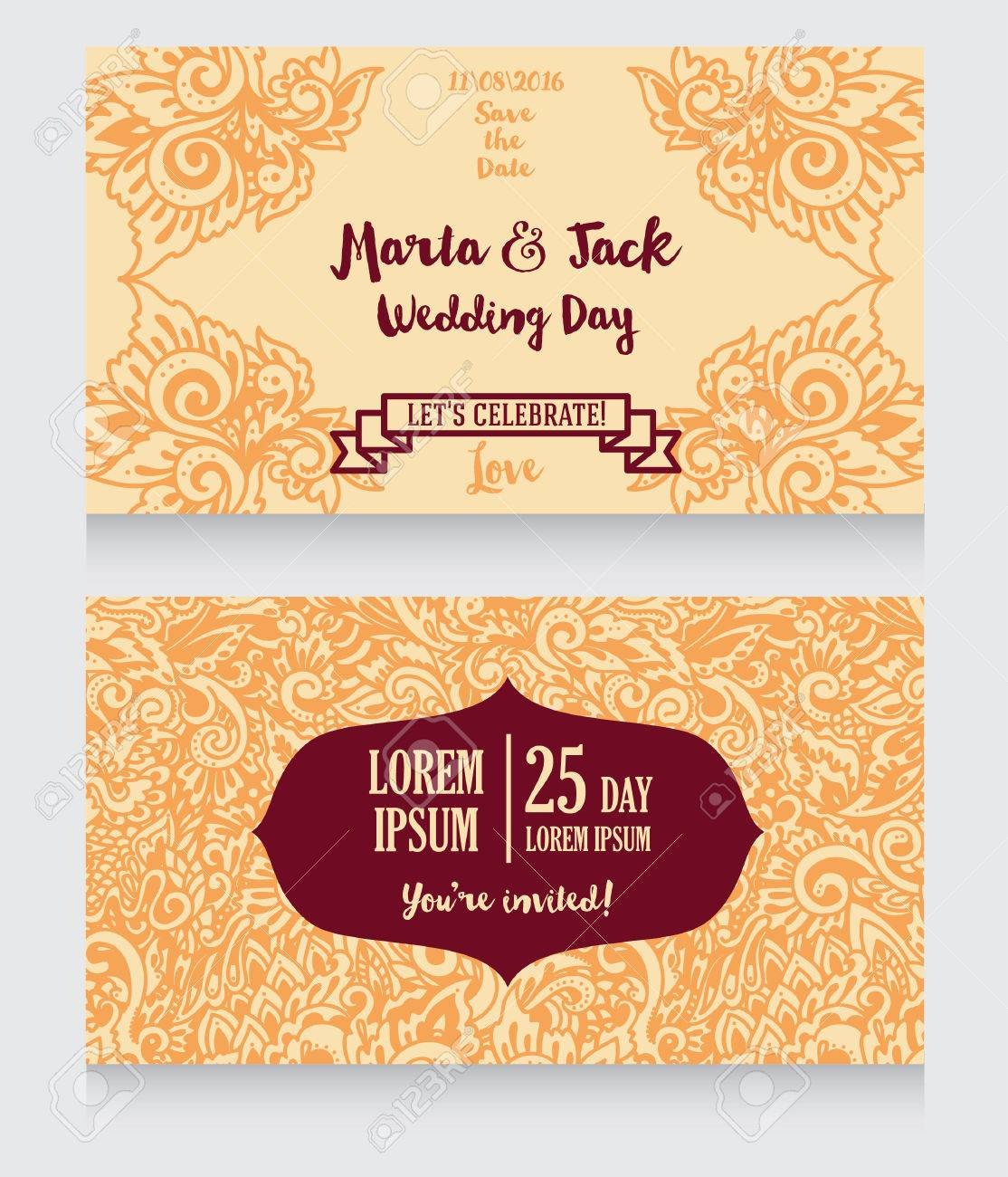 Template for wedding invitations in boho style colorful abstract banco de imagens template for wedding invitations in boho style colorful abstract ornament vector illustration stopboris Image collections