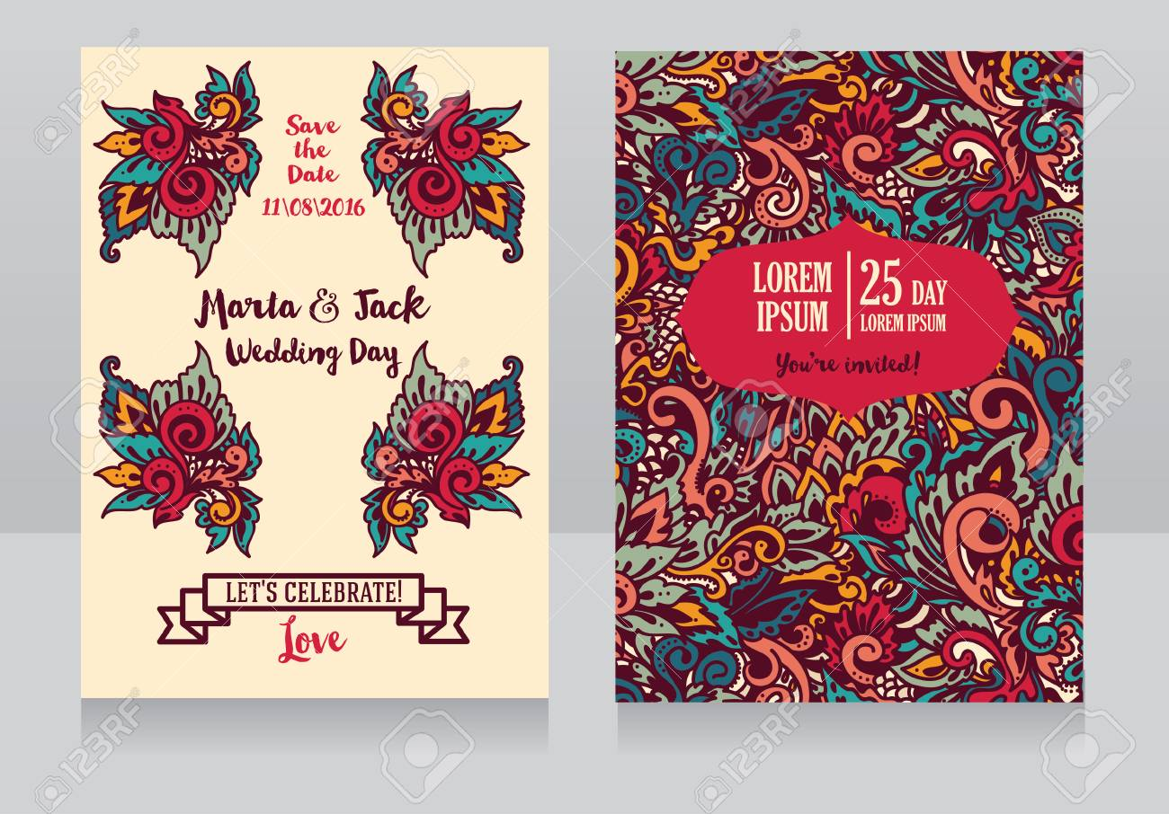 Template For Wedding Invitations In Boho Style, Colorful Abstract ...