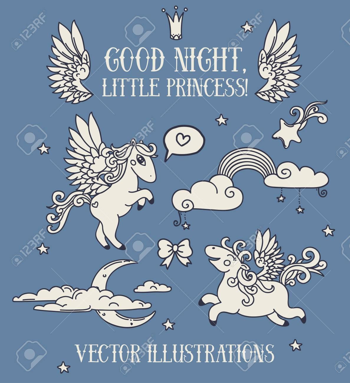 Bonne Nuit Petite Princesse Jeu Dicônes Pegasus De Dessin Animé Mignon Et Nuages Collection Illustrative De Vecteur