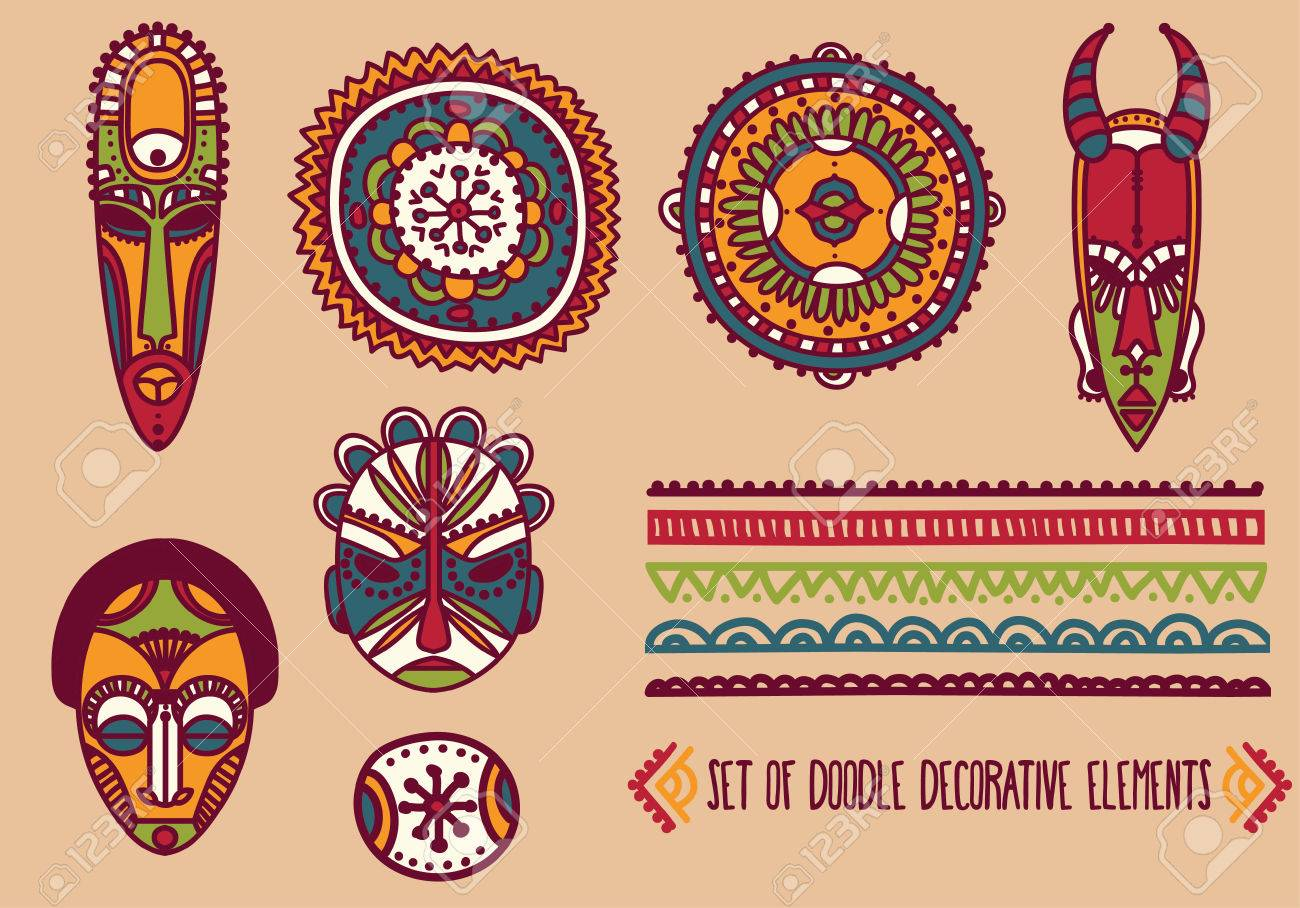 set of traditional african masks and african ornaments vector
