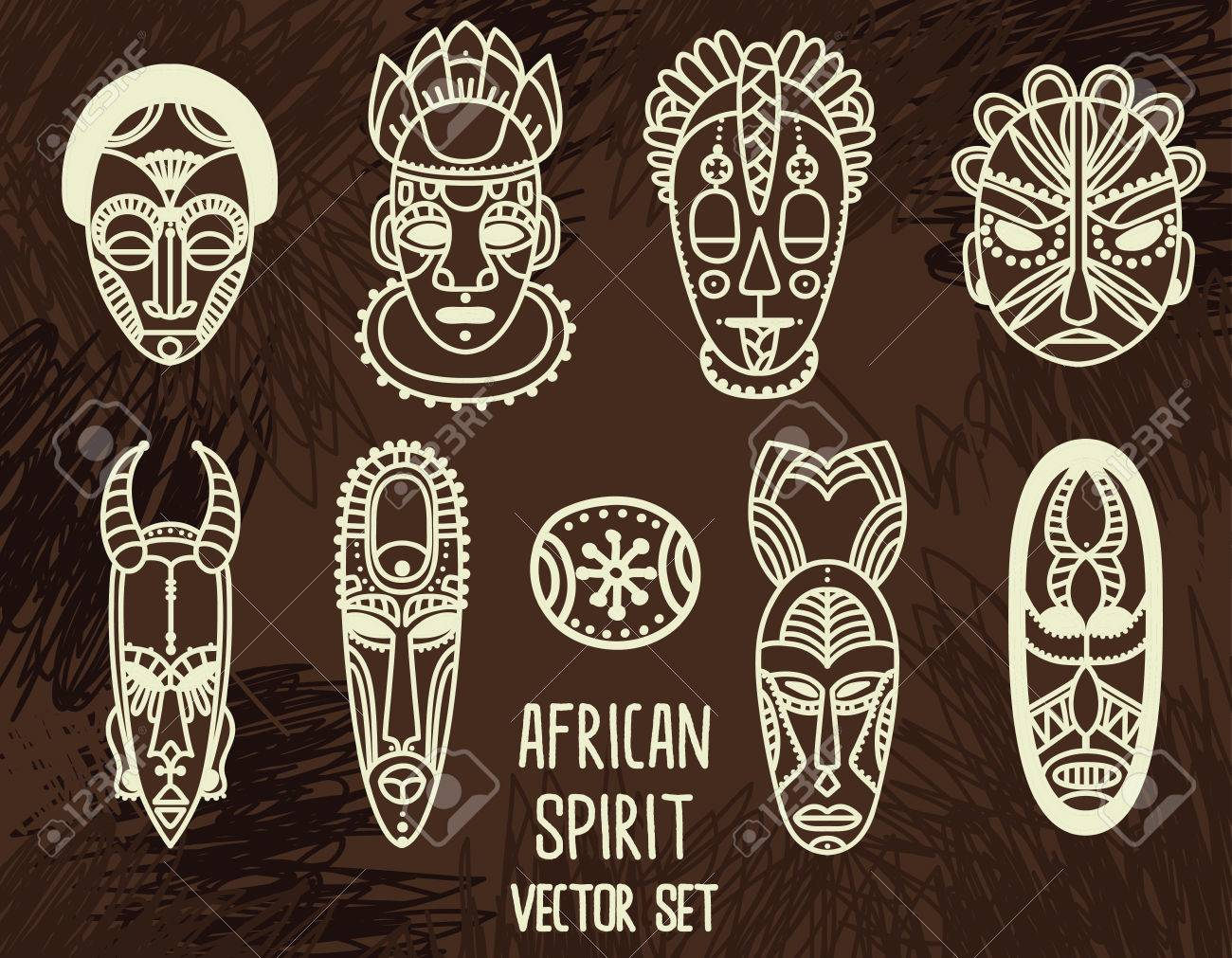 set of traditional african masks illustration royalty free cliparts