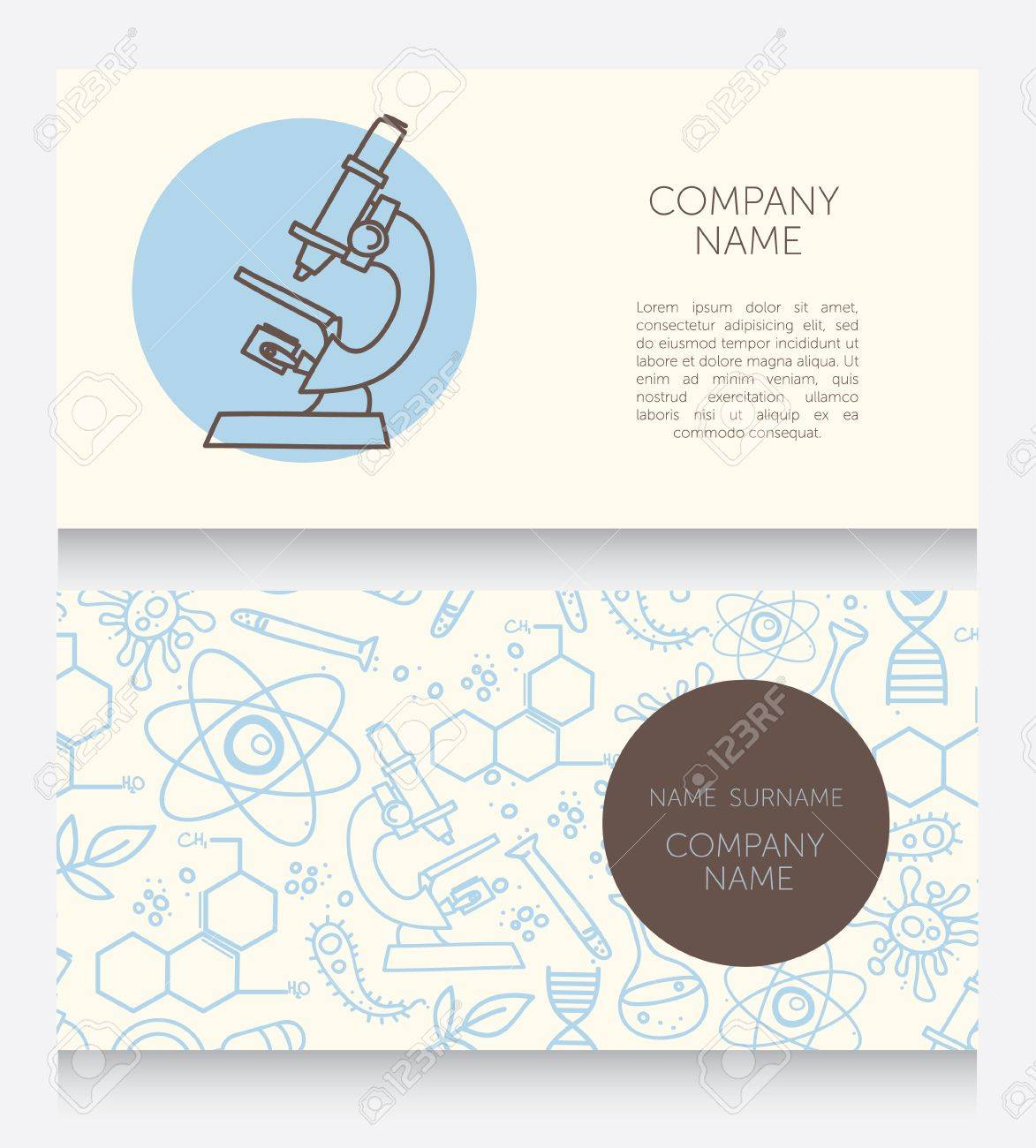 Business Cards Template For Medical Or Science Lab, Vector ...