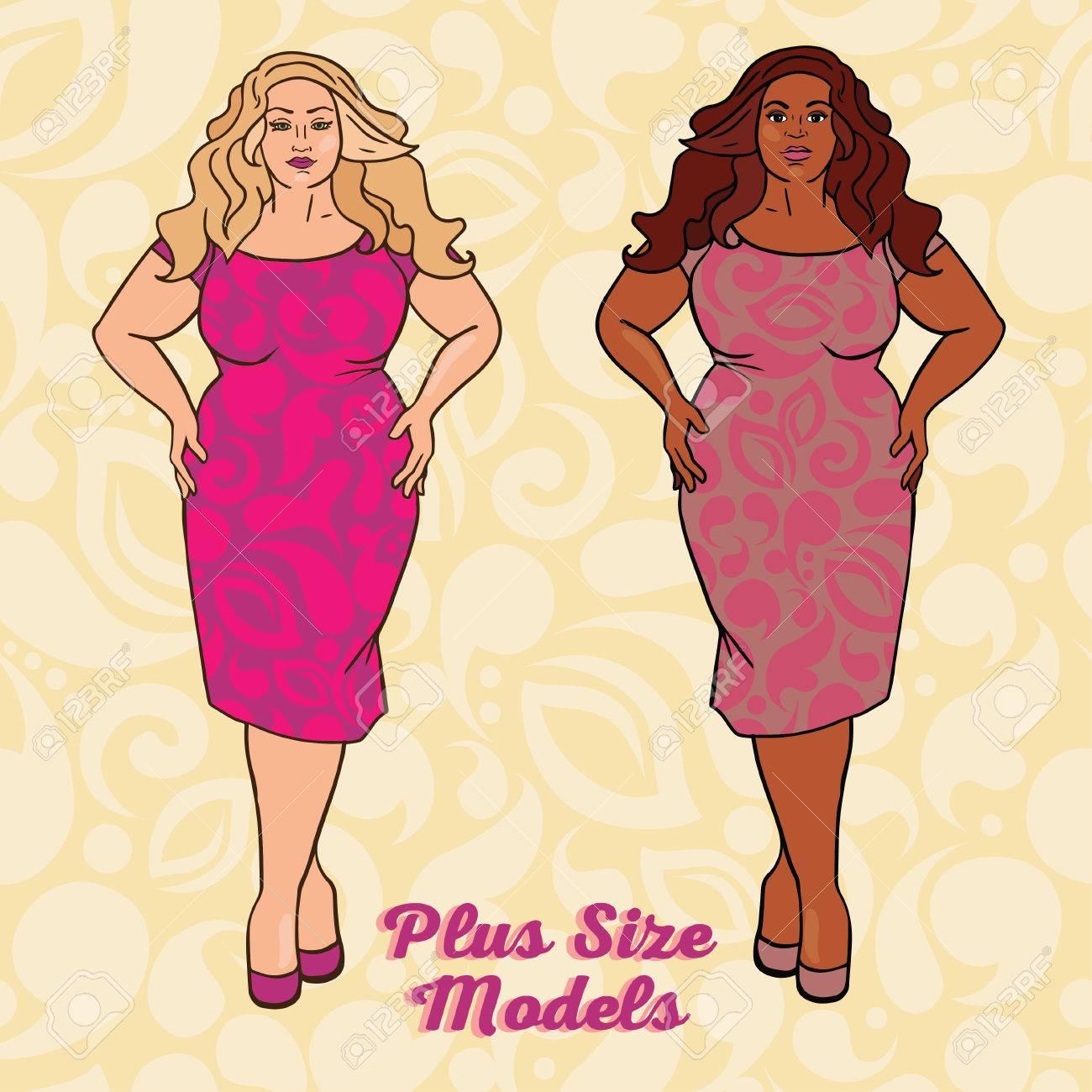 Zwei Verschiedene Nation Damen In Cocktailkleider, Plus ...