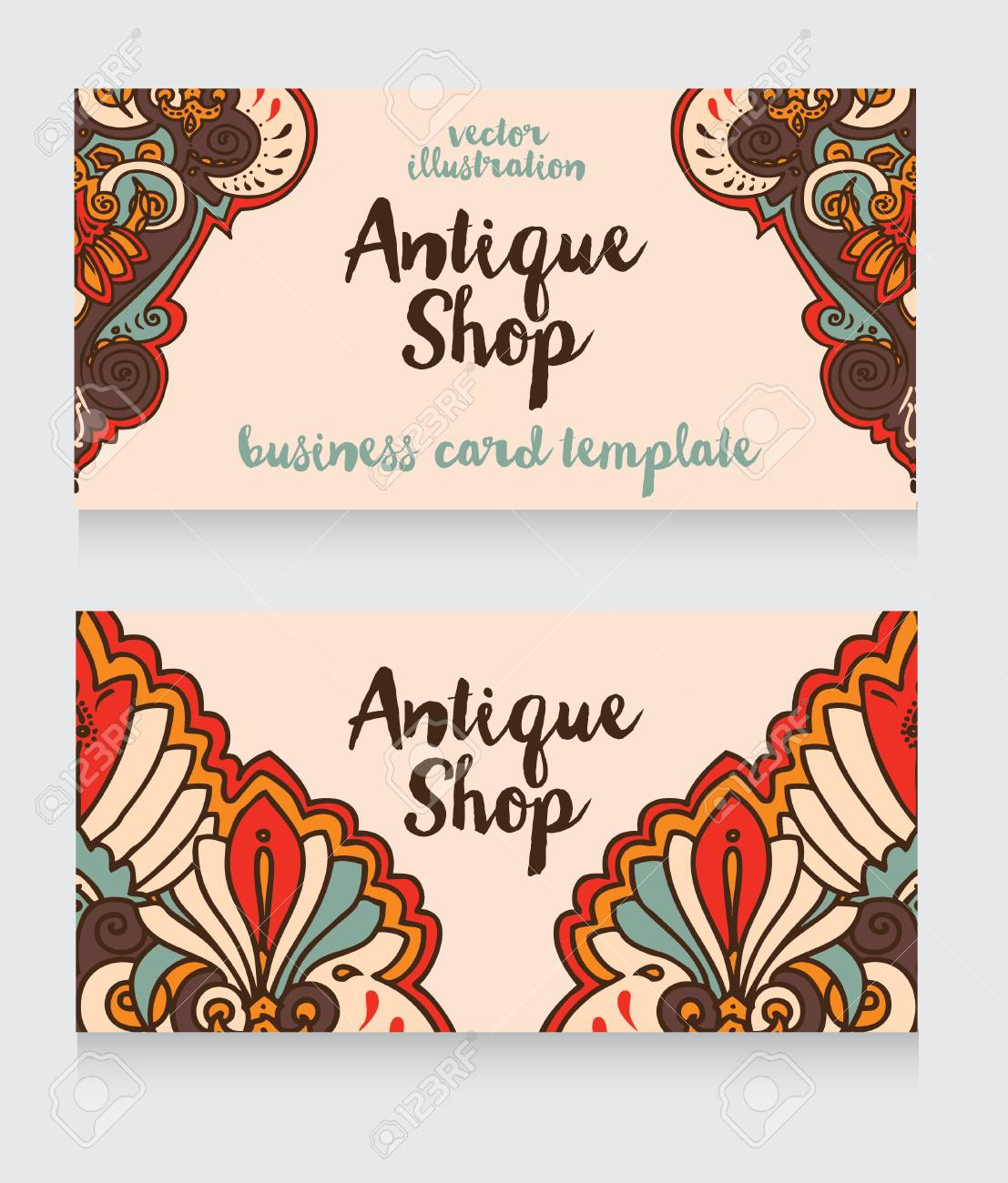 Business Cards Template For Antique Shop With Arabian Ornament ...