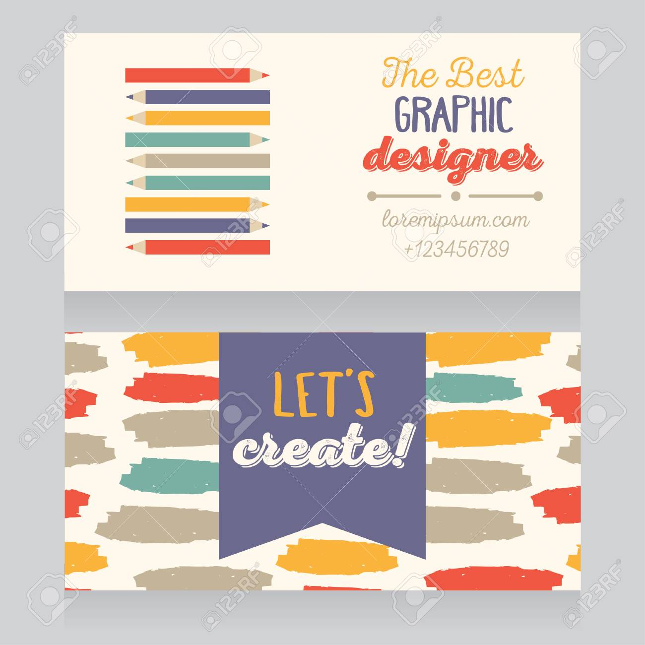 Business card template for graphic designer or creative agency business card template for graphic designer or creative agency vector illustration stock vector 74609141 colourmoves