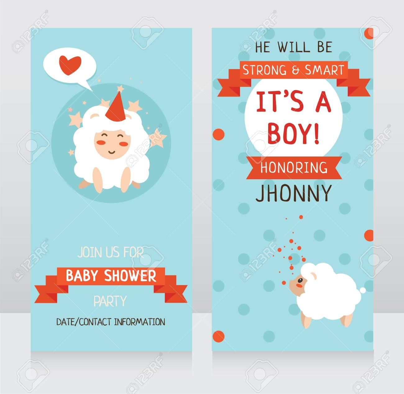 Plantilla De Invitaciones Para Baby Shower Party Tarjetas De Llegada De Bebé Ilustración Vectorial