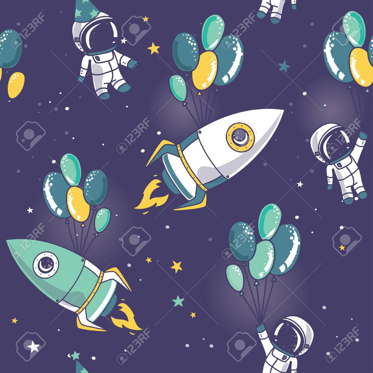 astronauts, rocket with balloons on seamless starry pattern, cosmic vector illustration - 74610515
