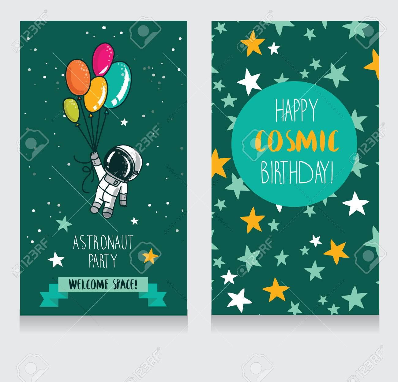 Lindo Cohete Con Globos En El Fondo Estrellado Tarjetas De Invitación Divertidas Para La Fiesta De Cumpleaños Del Niño Ilustración Vectorial Cósmica