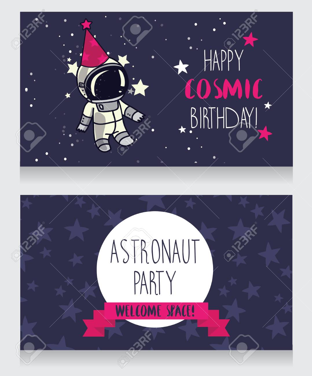 Cute Astronaut In Party Hat On Starry Background Funny Greeting