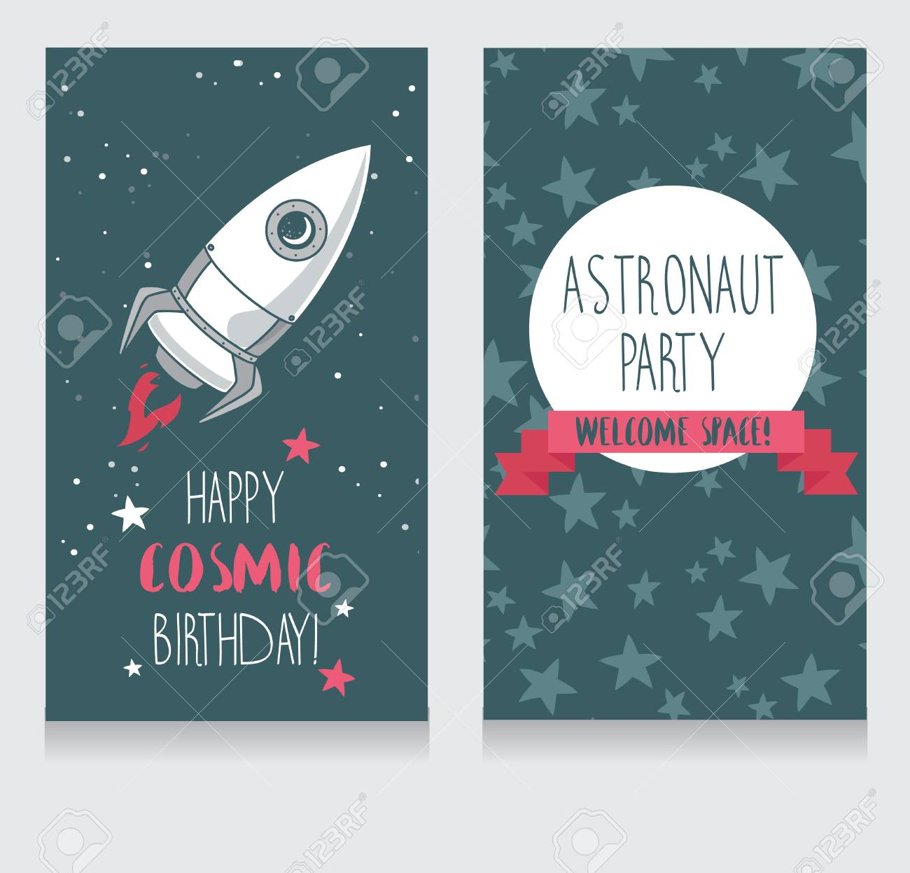 Cute Hand Drawn Rocket Stars Background Funny Invitation Cards For Boy S Birthday Party Cosmic Vector Illustration