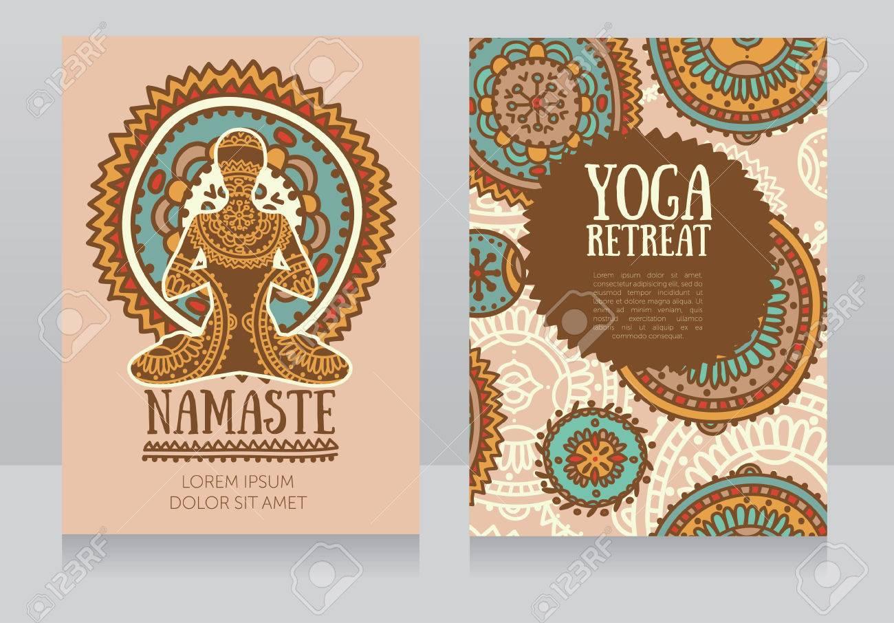 Karten Vorlage Für Yoga Retreat Oder Yoga Studio, Lotus Asana Und ...