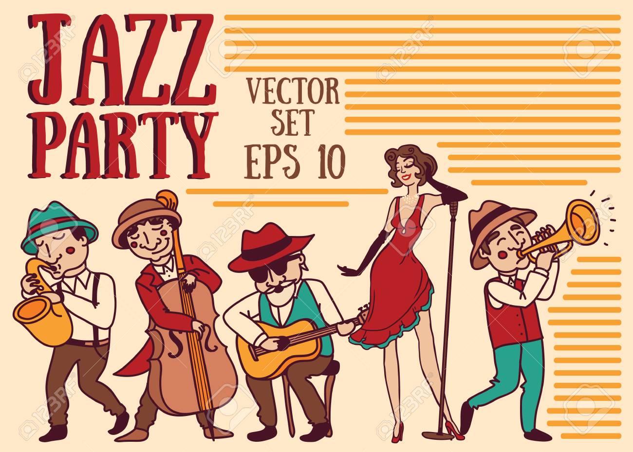ベクトル イラストのセット 19 年代のスタイル ジャズやブルースの音楽バンドのかわいい落書きミュージシャンのイラスト素材 ベクタ Image