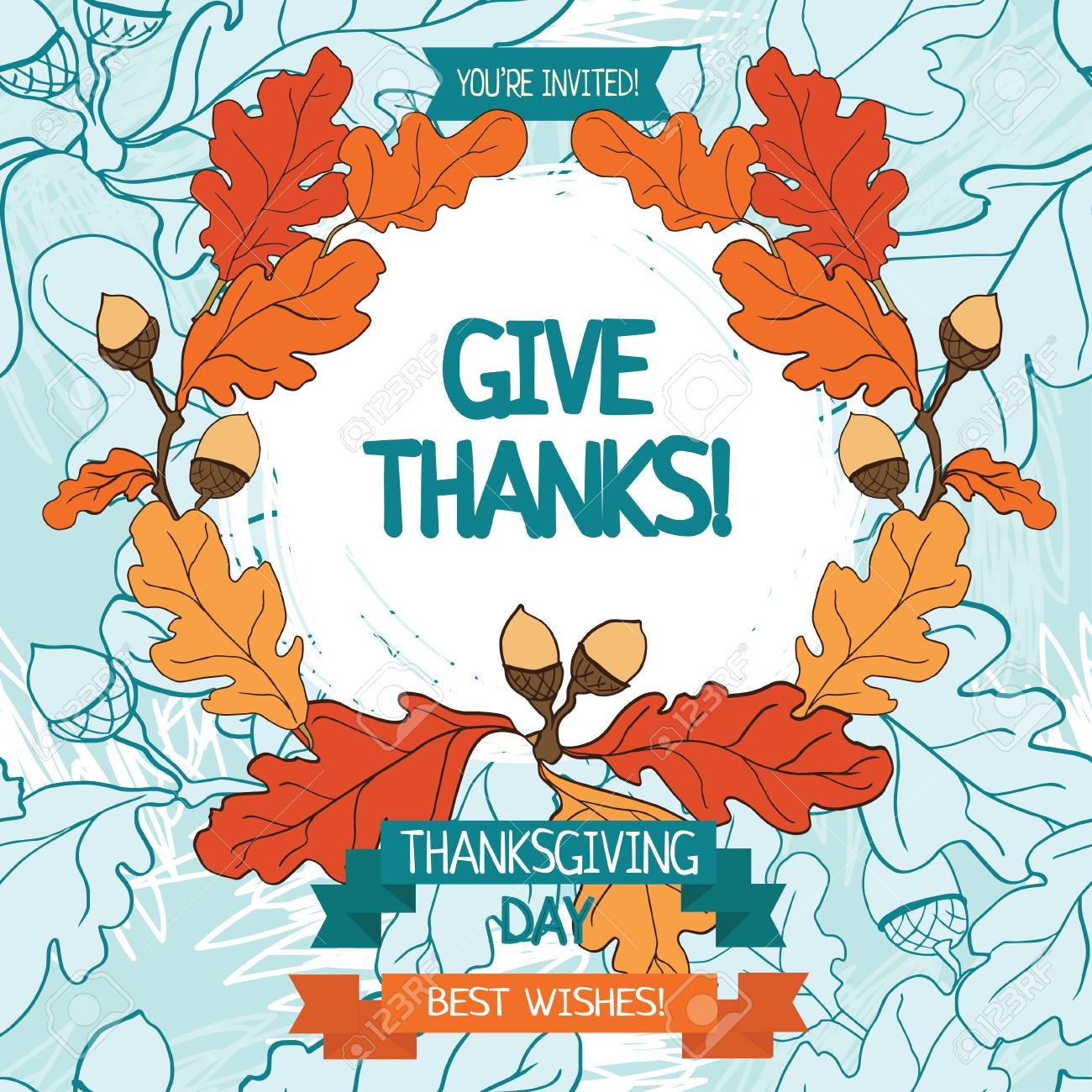 Thanksgiving Card Template, Cute Party Invitations, Vector ...