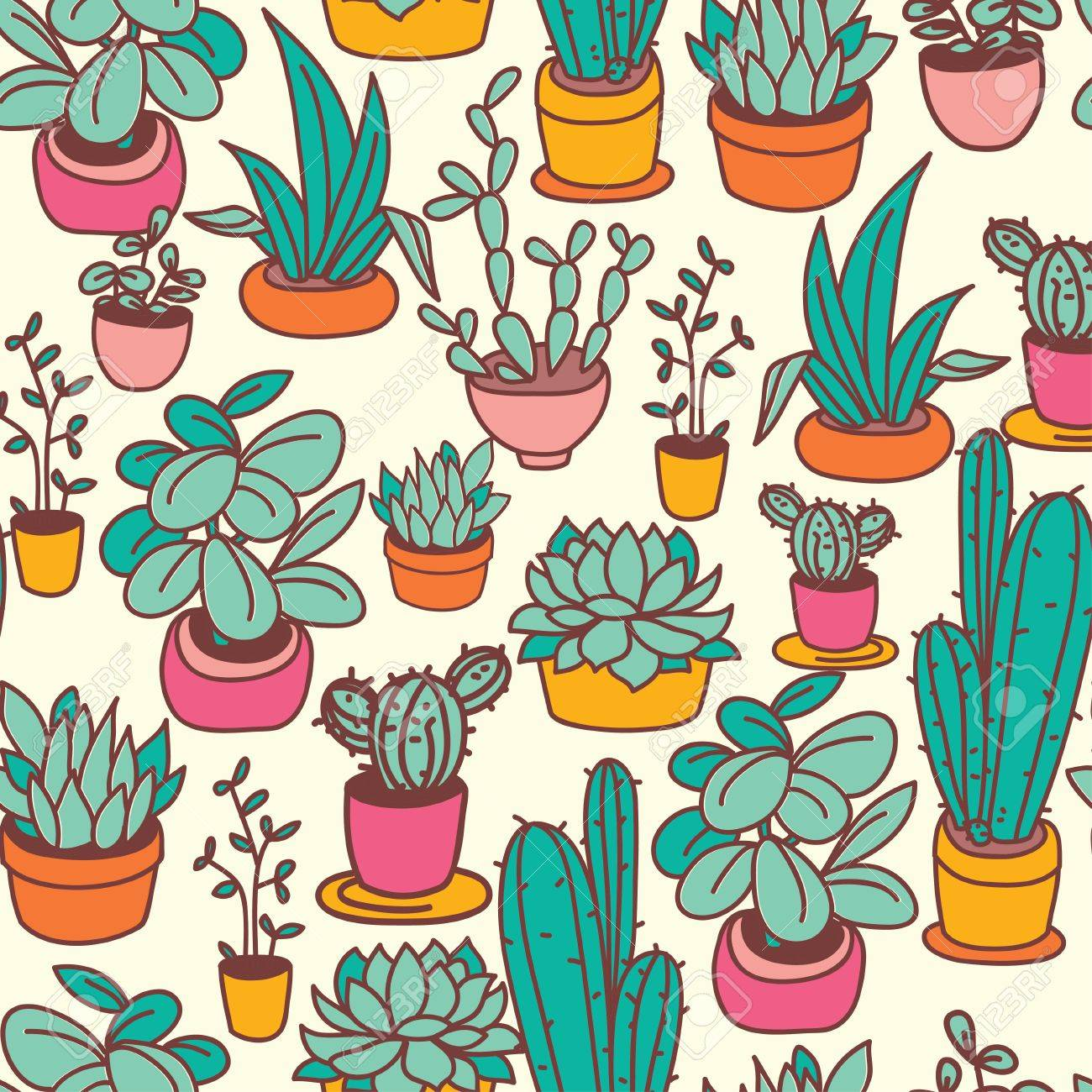 Seamless Pattern Of Cute Potted Plants Funny Cartoon Icons Royalty Free Cliparts Vectors And Stock Illustration Image 85654854