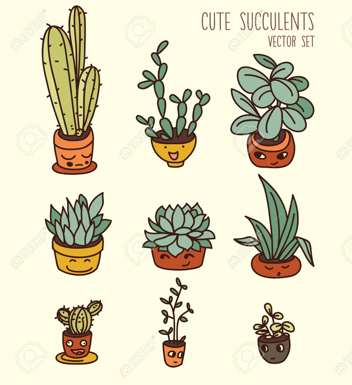 Set Of Cute Potted Plants Cartoon Style Vector Illustration Royalty Free Cliparts Vectors And Stock Illustration Image 85688643