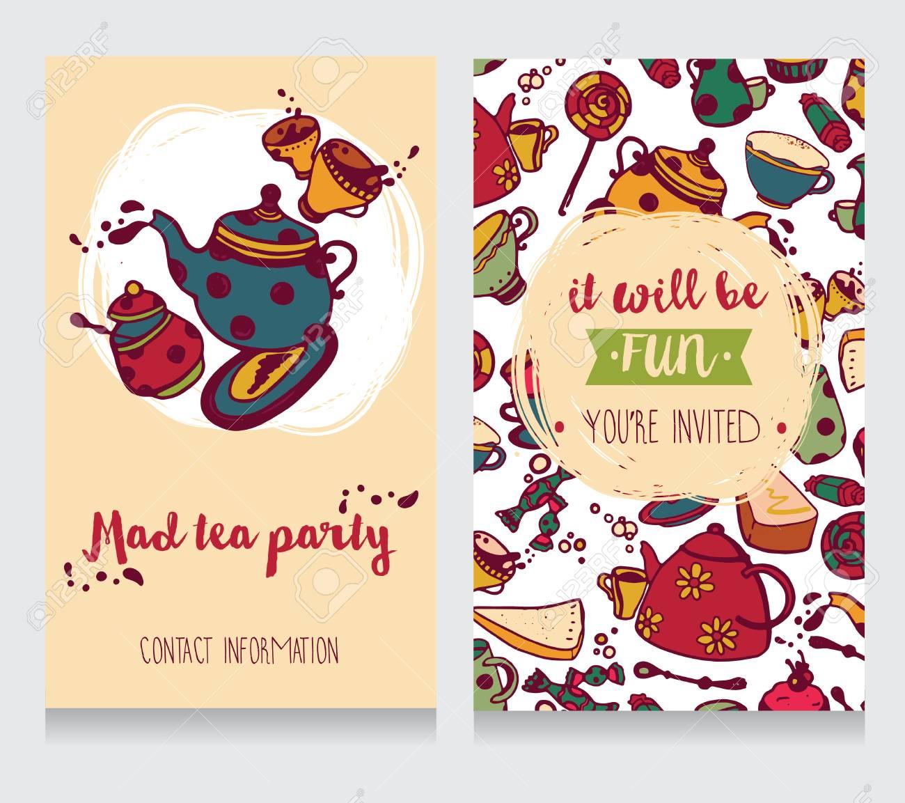 Tarjeta De Invitación Para Una Fiesta De Té Ilustración Vectorial