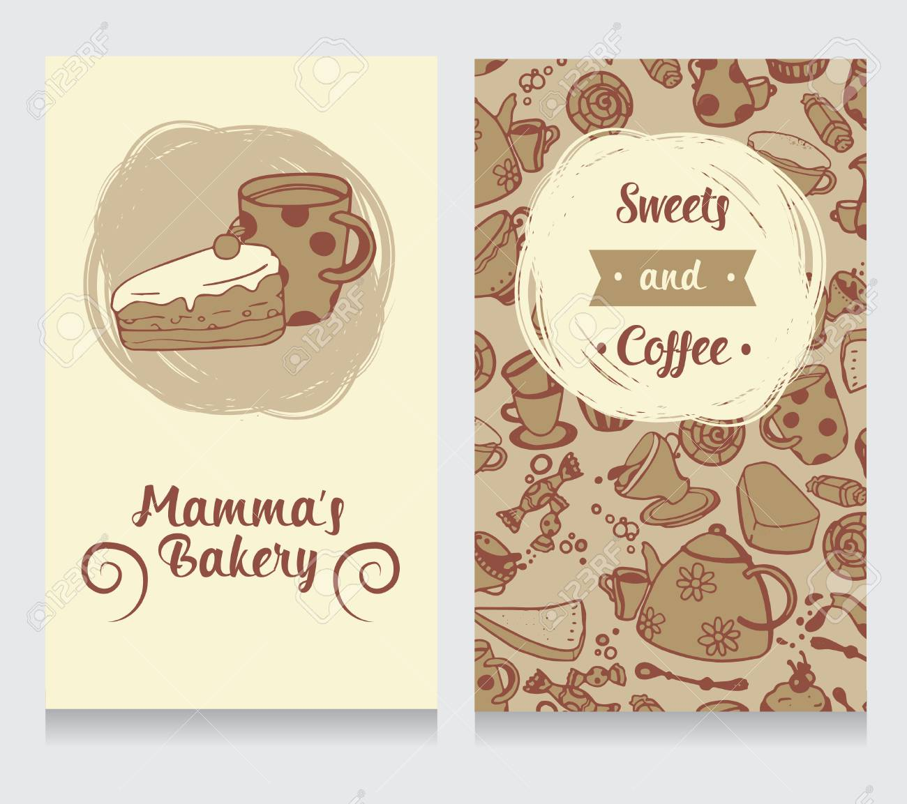 Cute Funny Business Card For Bakery, Vector Illustration Royalty ...