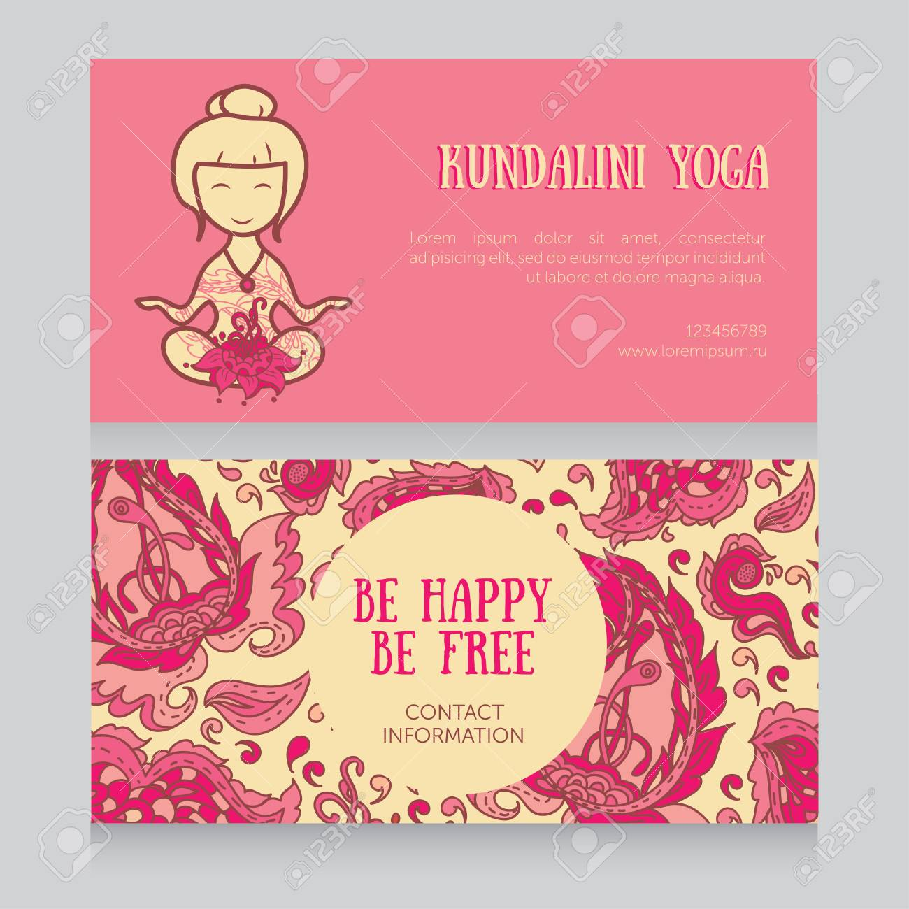 Cards template for yoga studio doodle girl in lotus asana and cards template for yoga studio doodle girl in lotus asana and paisley ornament illustration stopboris Gallery