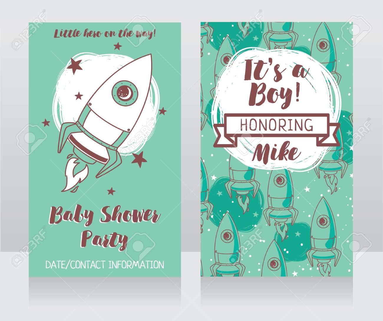 Invitaciones Para Baby Shower Con Lindo Cohete Es Un Niño Tarjetas Se Puede Utilizar Como Plantilla Para El Diseño De La Fiesta De Cumpleaños