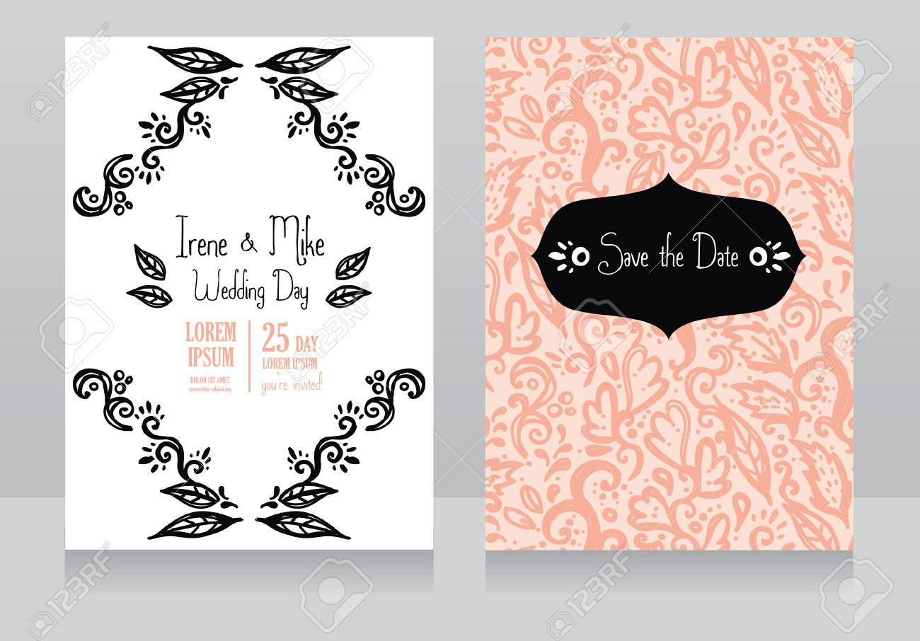 Two Beautiful Wedding Invitations, Vector Illustration Royalty Free ...