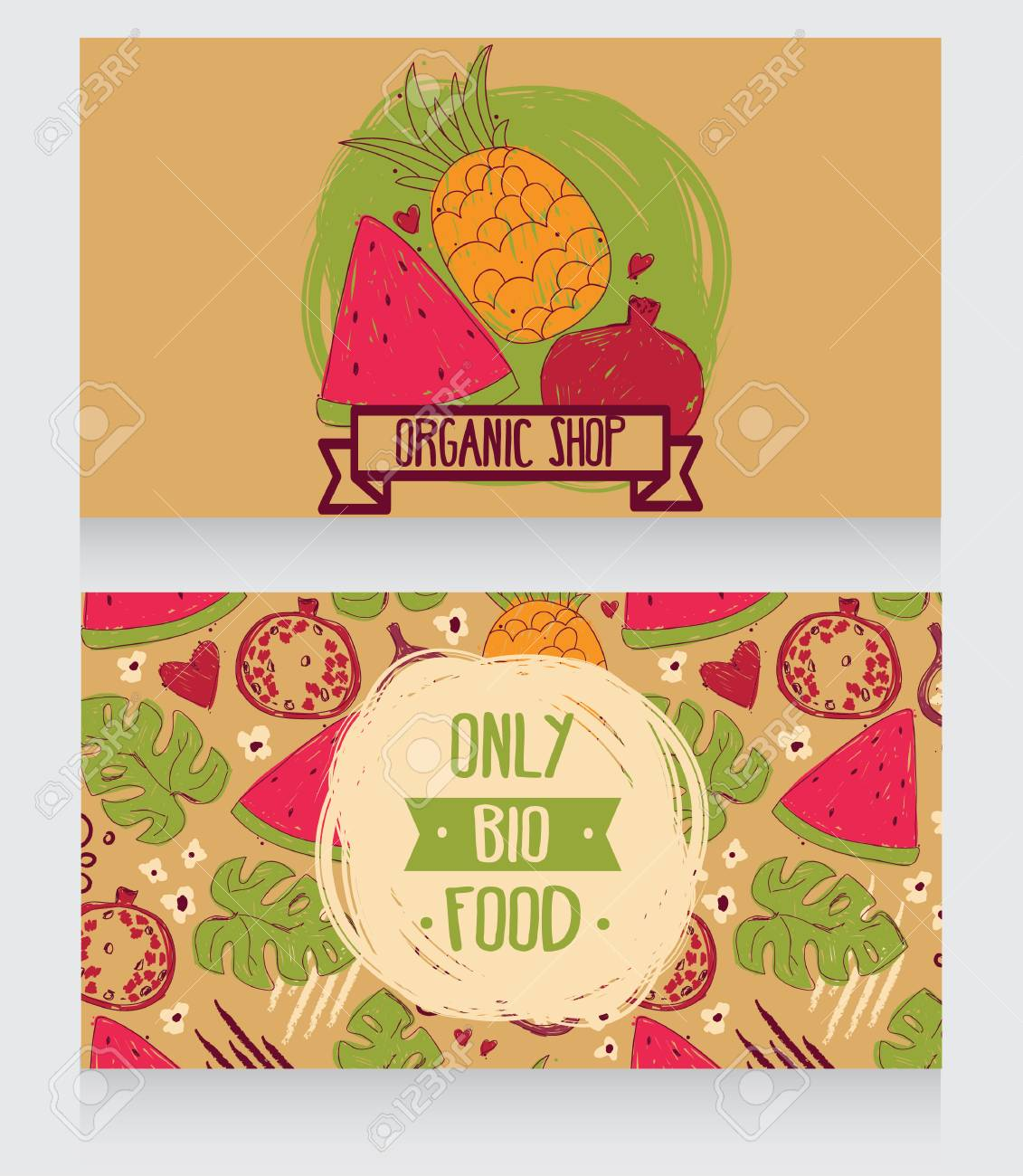 Business cards template for organic foods shop or vegan cafe business cards template for organic foods shop or vegan cafe vector illustration stock vector cheaphphosting Choice Image