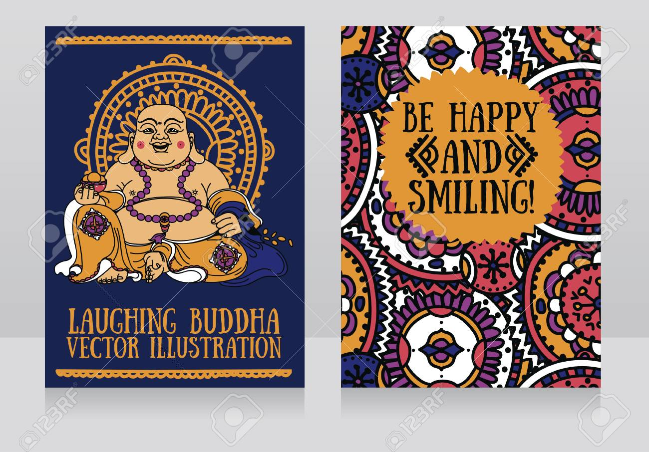 Greeting cards with laughing buddha traditional asian feng shui greeting cards with laughing buddha traditional asian feng shui talisman hotei or budai for happiness m4hsunfo