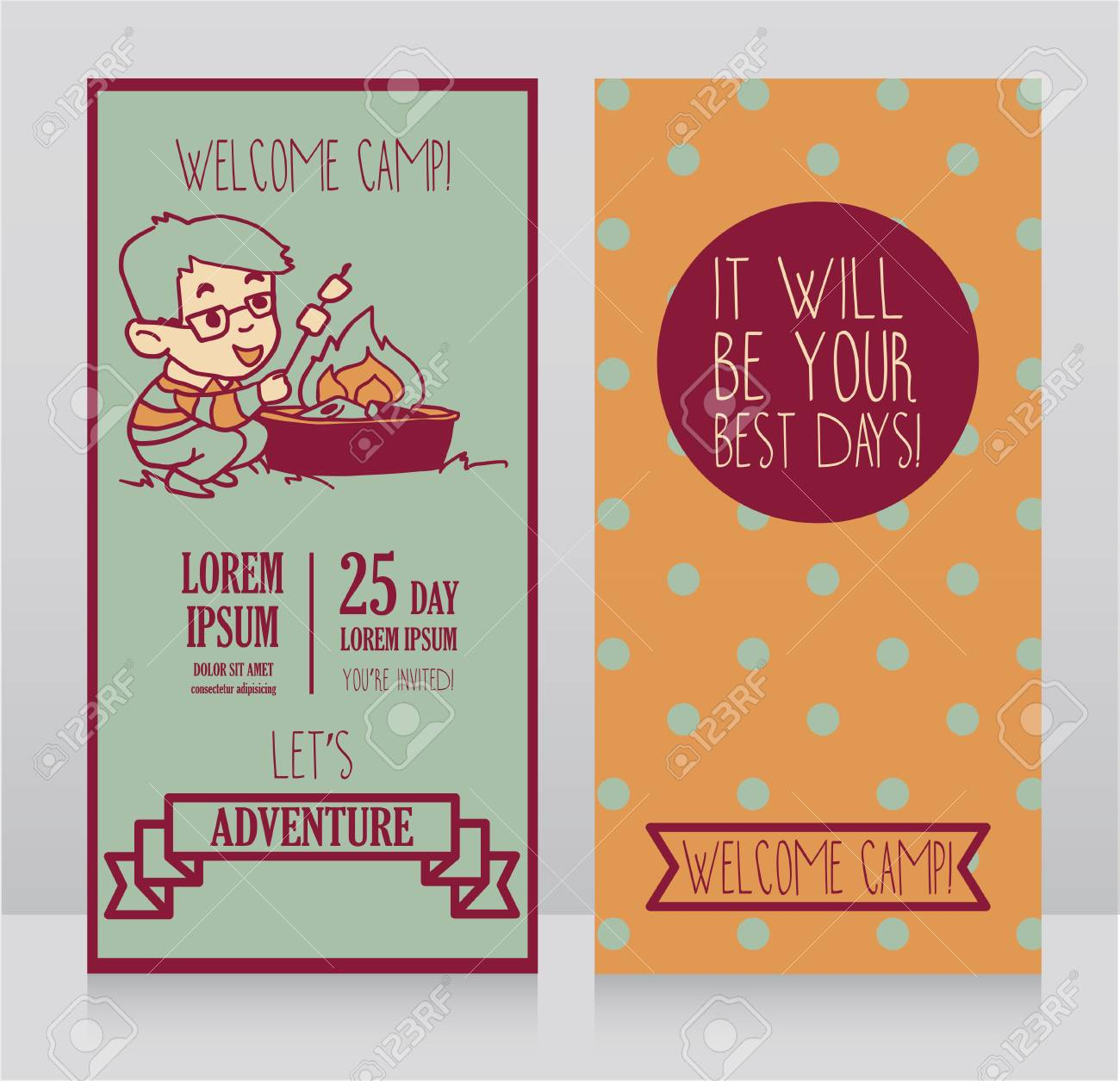 Invitation Template For Kids Camp Vector Illustration Royalty Free