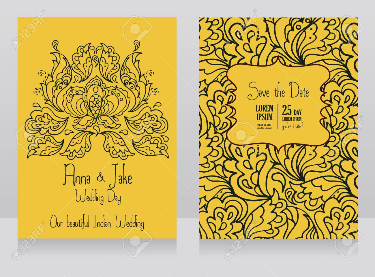 Template For Wedding Invitation In Indian Style Yellow Color