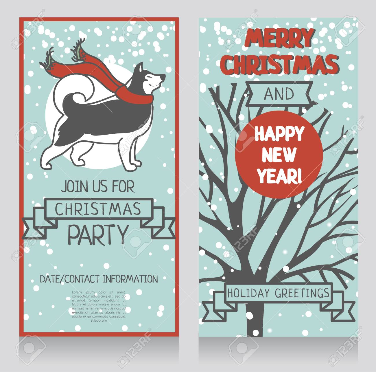 Husky Christmas Cards.Two Greeting Cards For Winter Holidays Party With Cute Smiling