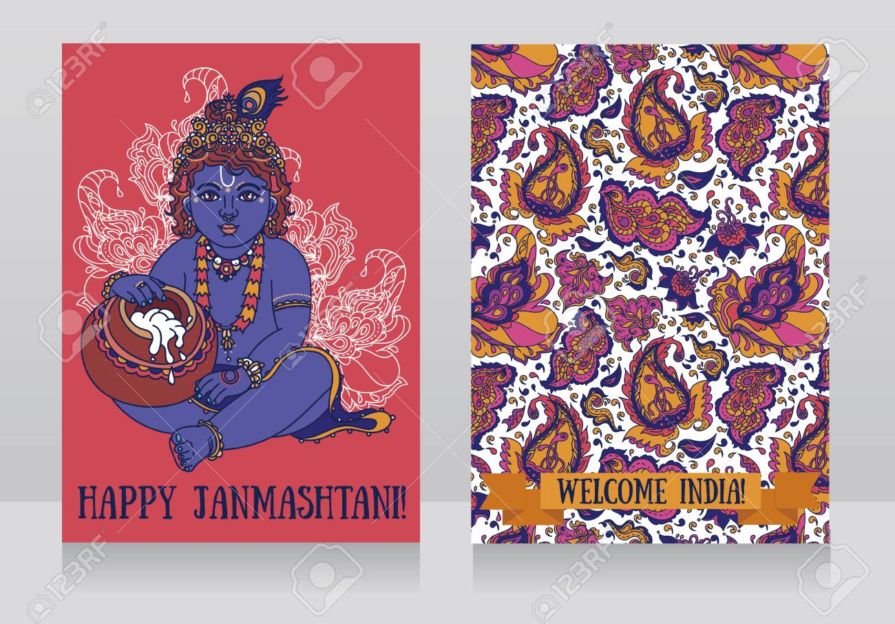 Two greeting card for krishna birthday little krishna and a two greeting card for krishna birthday little krishna and a pot of butter can kristyandbryce Gallery