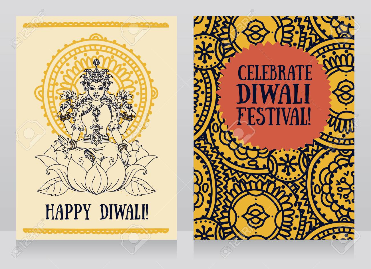Beautiful greeting cards for diwali festival with indian goddess beautiful greeting cards for diwali festival with indian goddess lakshmi and colorful ornament vector illustration m4hsunfo